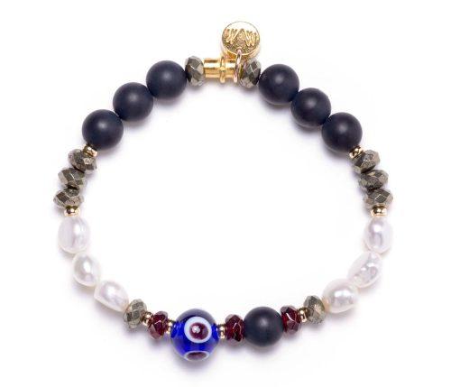 Maria Masella, bracelet, onyx, pyrite, perles de culture d'eau douce, grenat rouge, œil de verre
