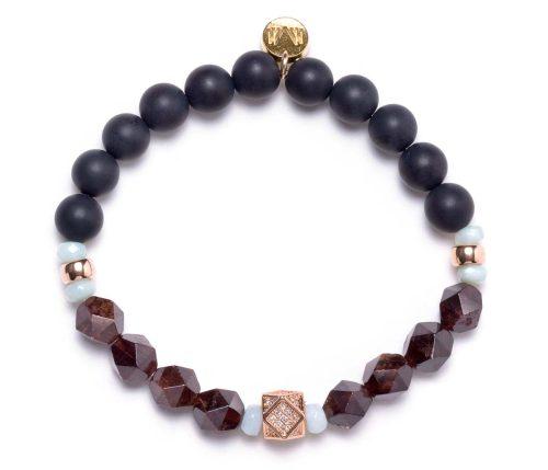 Maria Masella, bracelet, onyx, amazonite, grenat rouge