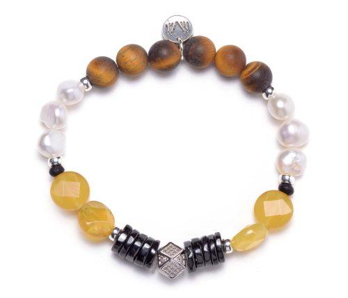 Maria Masella, bracelet, œil de tigre, perles de culture d'eau douce, onyx, opale jaune, spinelle noire