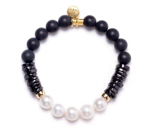 Maria Masella, bracelet, onyx, spinelle noire, perles de culture d'eau douce, tube en vermeil