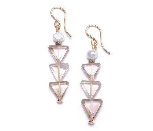Maria Masella, boucles d'oreilles, perles de culture d'eau douce, pyrite, quartz fumée