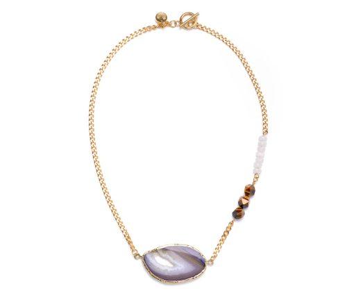 Maria Masella, collier, chaîne en acier inoxydable, agate, jade blanc, œil de tigre