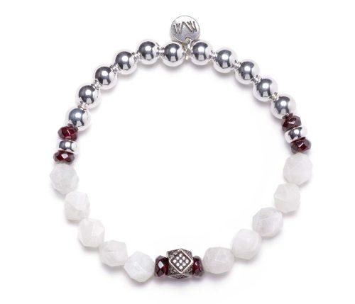 Maria Masella, bracelet, argent sterling, grenat rouge, pierre de lune blanche