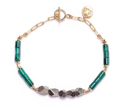 Maria Masella, bracelet, malachite et pyrite enfilé sur un fil de soie