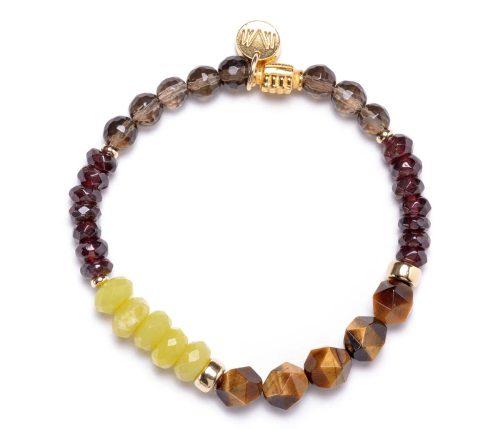 Maria Masella, bracelet, quartz fumée, grenat rouge, jade olive, œil de tigre, perle ornée en vermeil