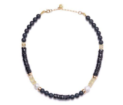 Maria Masella, collier, onyx, quartz citron, spinelle noire, perles de culture d'eau douce
