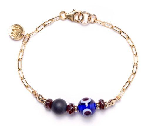 Maria Masella, bracelet, grenat rouge, onyx, œil de verre