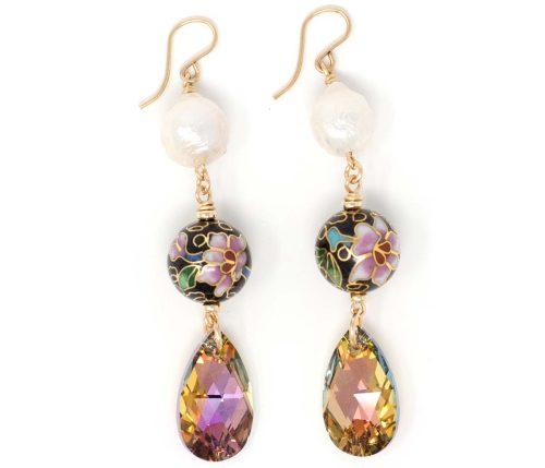 Boulces d'oreilles cloisonné earrings Maria Masella atelier